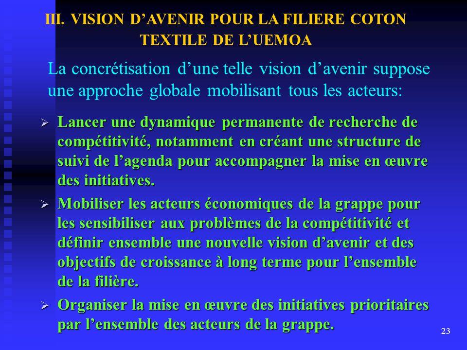 22 Stratégie de développement de la grappe coton-textile en deux étapes suivant la chaîne des valeurs de la filière: (i) Développement des filatures (
