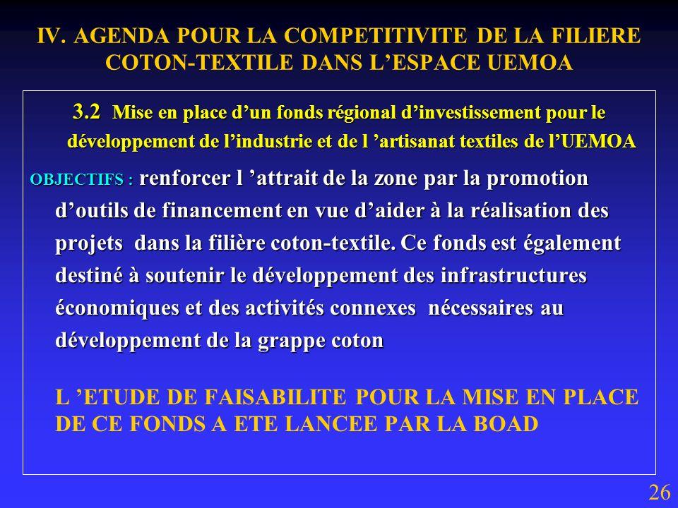 3.1 Création dun fonds régional de promotion de la production et dincitation à la transformation locale de la fibre de coton : OBJECTIFS : attirer l i