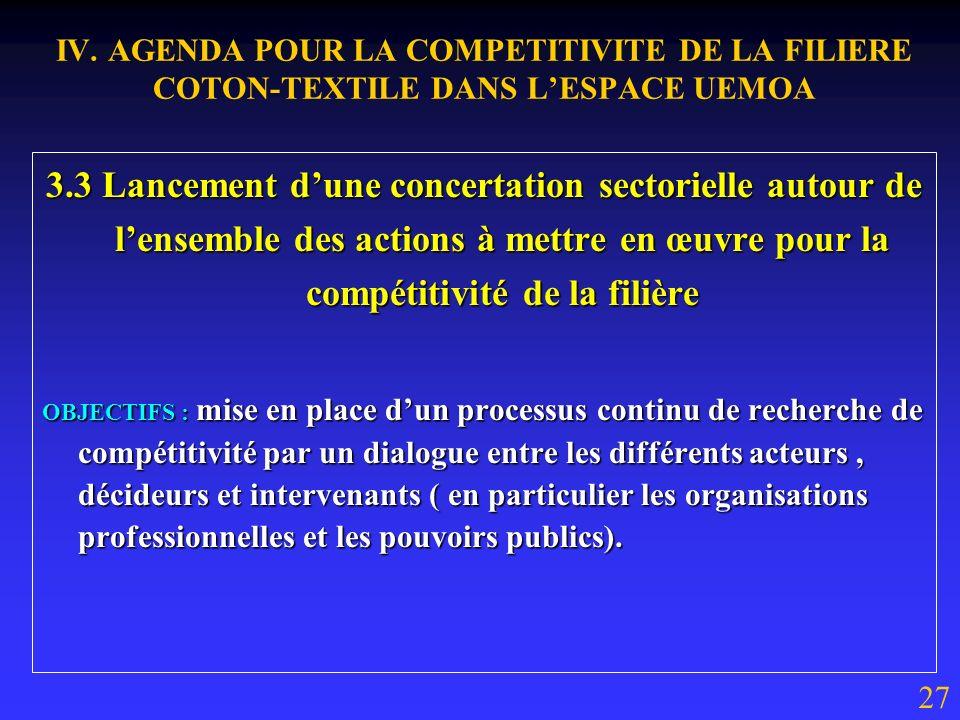 IV. AGENDA POUR LA COMPETITIVITE DE LA FILIERE COTON-TEXTILE DANS LESPACE UEMOA 3.2 Mise en place dun fonds régional dinvestissement pour le développe