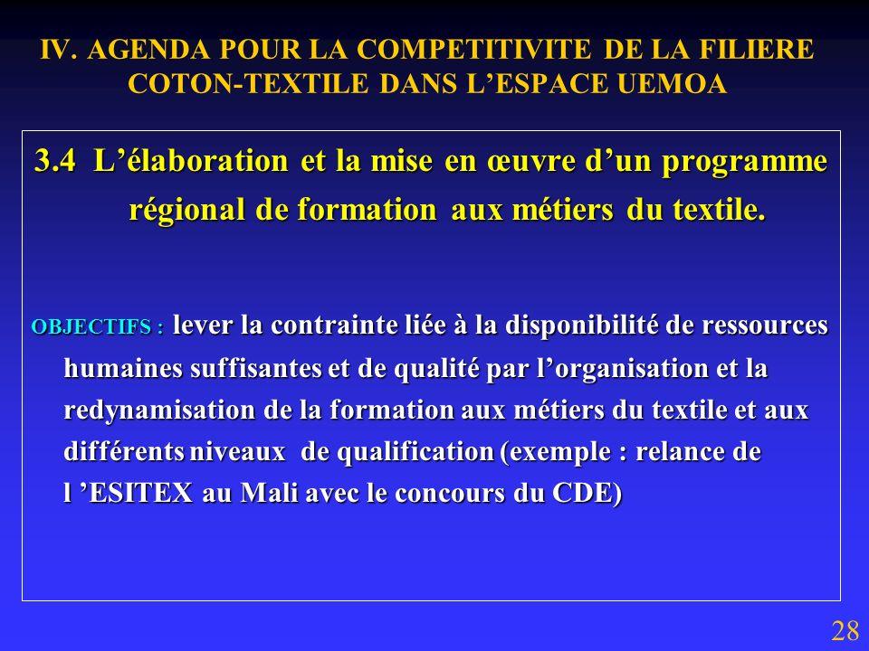 IV. AGENDA POUR LA COMPETITIVITE DE LA FILIERE COTON-TEXTILE DANS LESPACE UEMOA 3.3 Lancement dune concertation sectorielle autour de lensemble des ac
