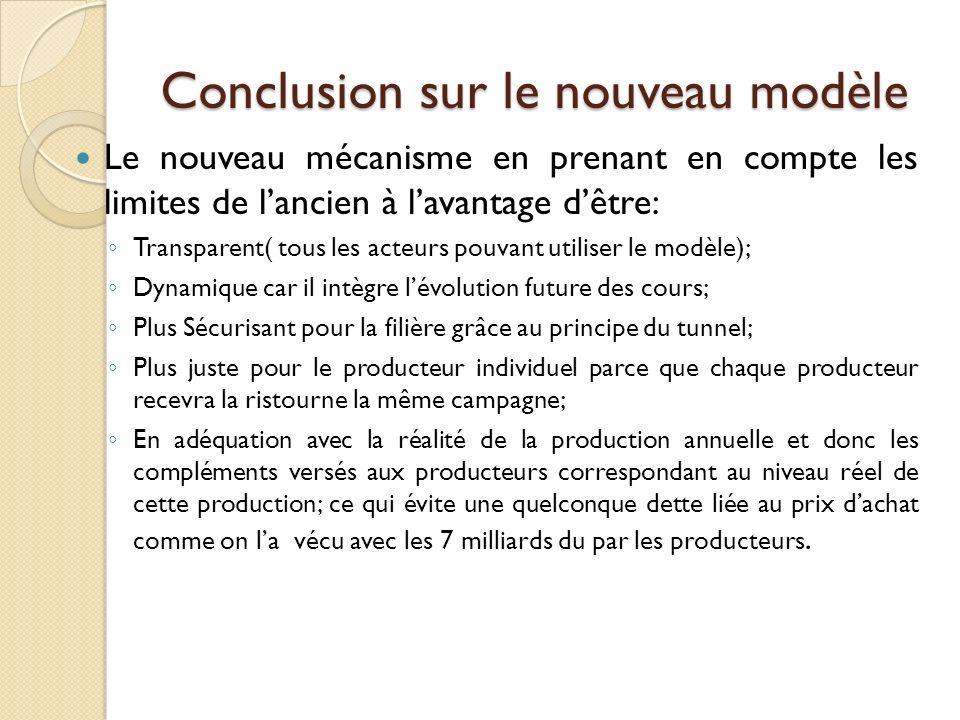Conclusion sur le nouveau modèle Le nouveau mécanisme en prenant en compte les limites de lancien à lavantage dêtre: Transparent( tous les acteurs pou