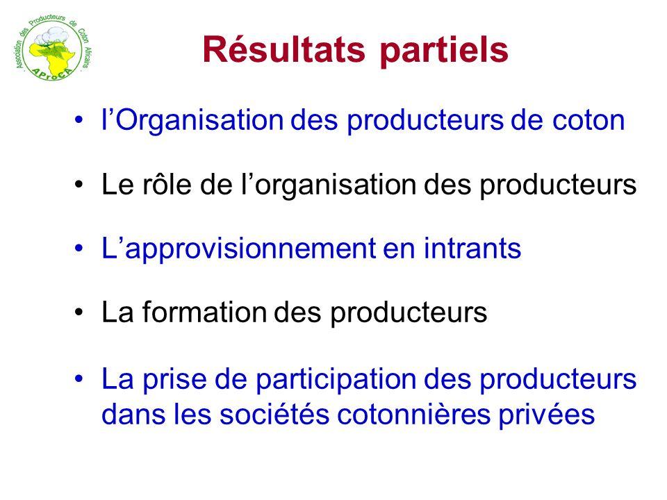 Résultats partiels lOrganisation des producteurs de coton Le rôle de lorganisation des producteurs Lapprovisionnement en intrants La formation des pro