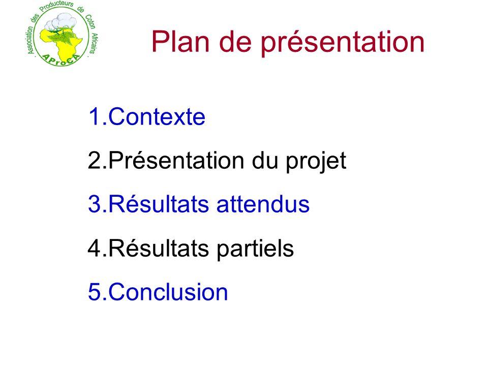 Plan de présentation 1.Contexte 2.Présentation du projet 3.Résultats attendus 4.Résultats partiels 5.Conclusion