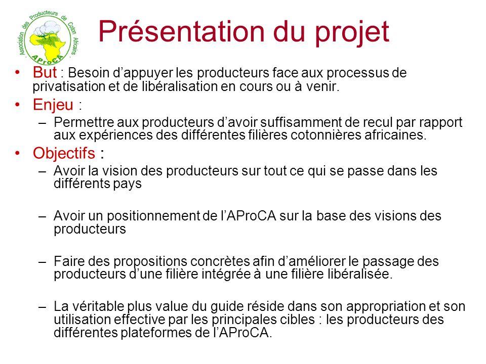 Présentation du projet But : Besoin dappuyer les producteurs face aux processus de privatisation et de libéralisation en cours ou à venir. Enjeu : –Pe
