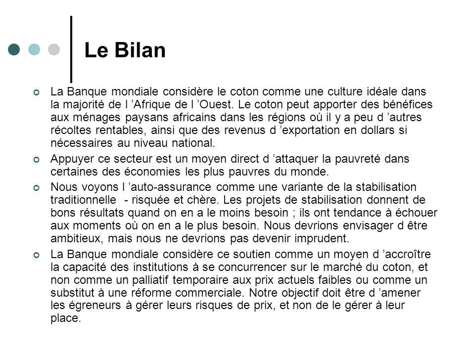Le Bilan La Banque mondiale considère le coton comme une culture idéale dans la majorité de l Afrique de l Ouest.