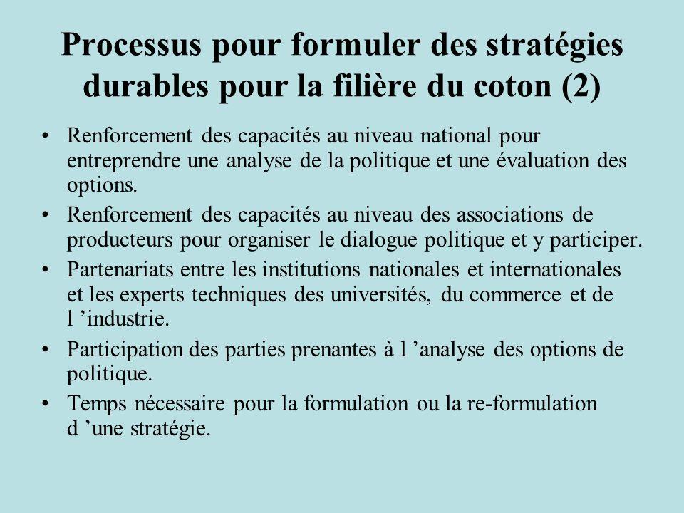 Processus pour formuler des stratégies durables pour la filière du coton (2) Renforcement des capacités au niveau national pour entreprendre une analyse de la politique et une évaluation des options.