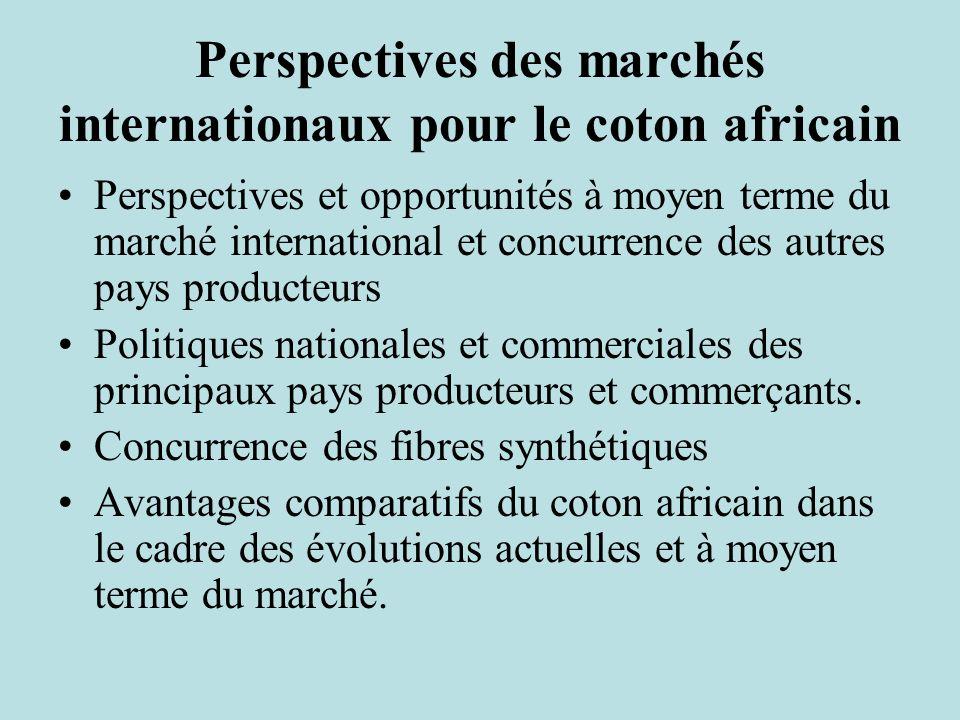 Perspectives des marchés internationaux pour le coton africain Perspectives et opportunités à moyen terme du marché international et concurrence des autres pays producteurs Politiques nationales et commerciales des principaux pays producteurs et commerçants.