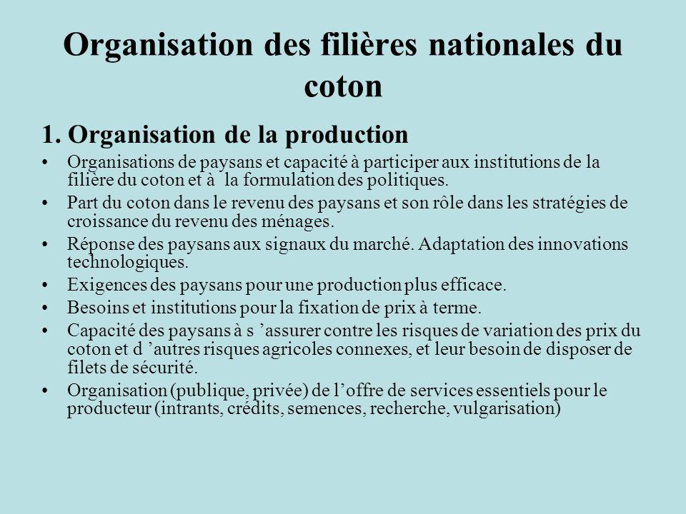 Organisation des filières nationales du coton 1.