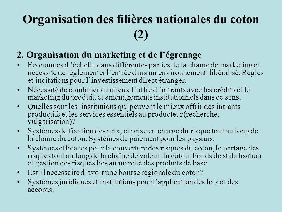 Organisation des filières nationales du coton (2) 2.