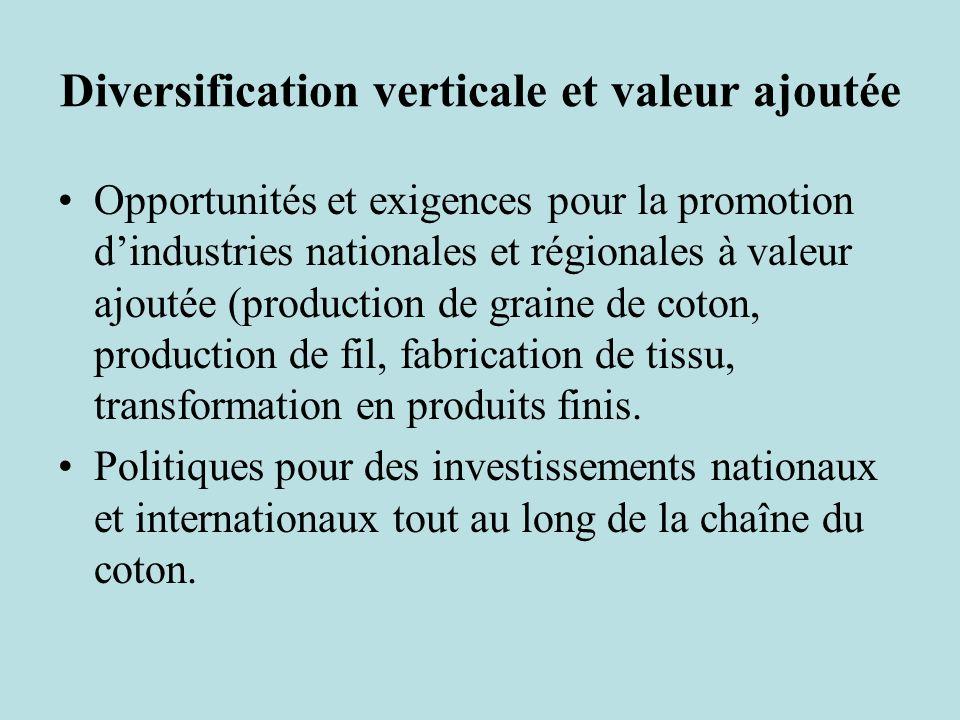 Diversification verticale et valeur ajoutée Opportunités et exigences pour la promotion dindustries nationales et régionales à valeur ajoutée (production de graine de coton, production de fil, fabrication de tissu, transformation en produits finis.