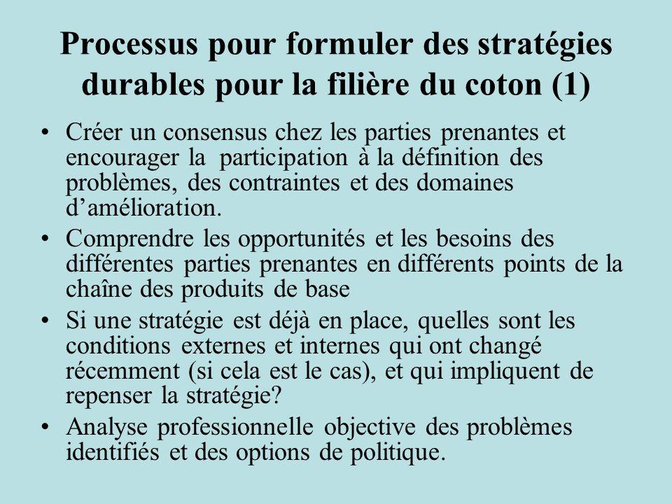 Processus pour formuler des stratégies durables pour la filière du coton (1) Créer un consensus chez les parties prenantes et encourager la participation à la définition des problèmes, des contraintes et des domaines damélioration.