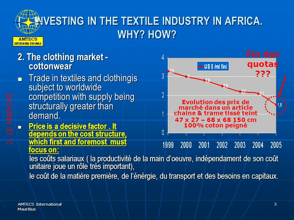 AMTECS International Mauritius 3 INVESTING IN THE TEXTILE INDUSTRY IN AFRICA.