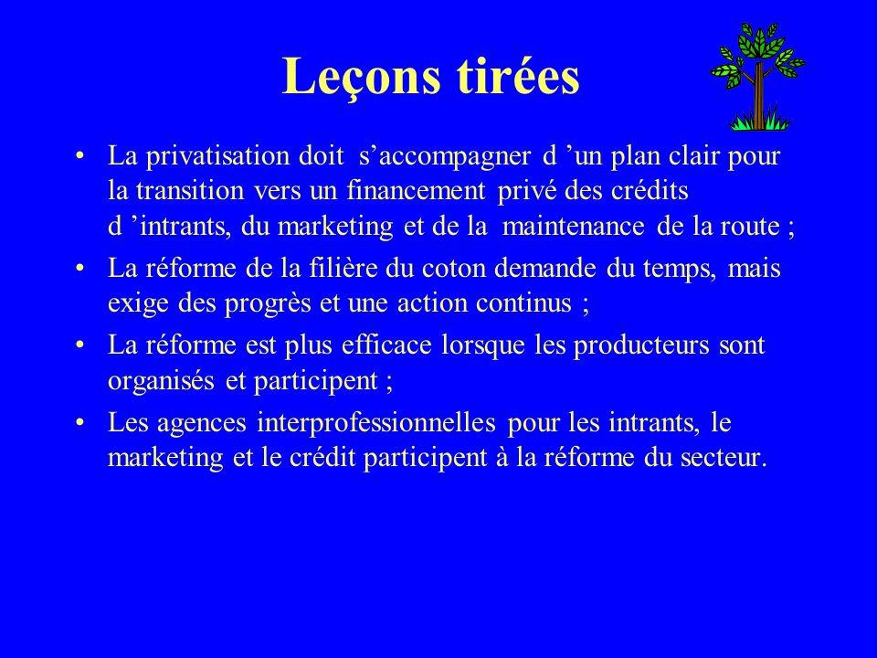 Leçons tirées La privatisation doit saccompagner d un plan clair pour la transition vers un financement privé des crédits d intrants, du marketing et