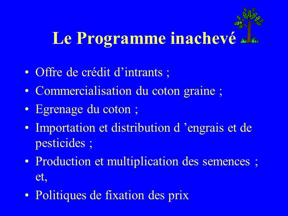 Le Programme inachevé Offre de crédit dintrants ; Commercialisation du coton graine ; Egrenage du coton ; Importation et distribution d engrais et de