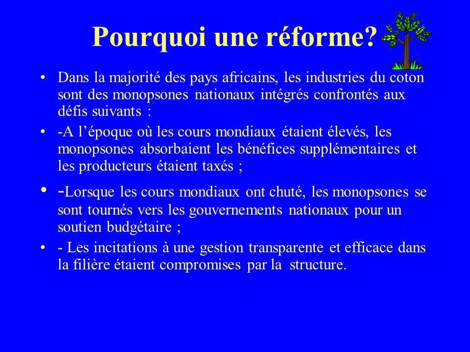 Pourquoi une réforme? Dans la majorité des pays africains, les industries du coton sont des monopsones nationaux intégrés confrontés aux défis suivant