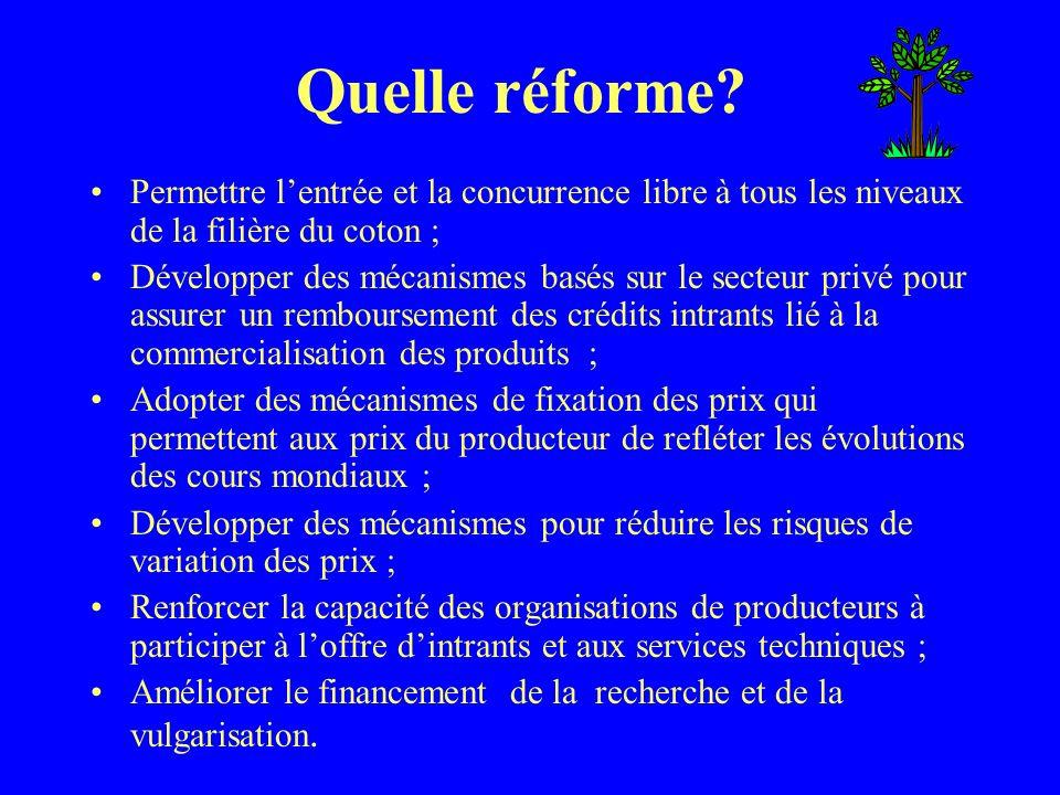 Quelle réforme? Permettre lentrée et la concurrence libre à tous les niveaux de la filière du coton ; Développer des mécanismes basés sur le secteur p