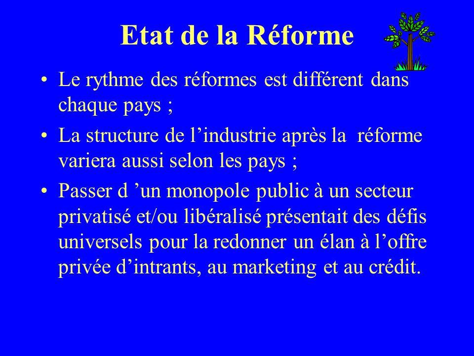 Etat de la Réforme Le rythme des réformes est différent dans chaque pays ; La structure de lindustrie après la réforme variera aussi selon les pays ;