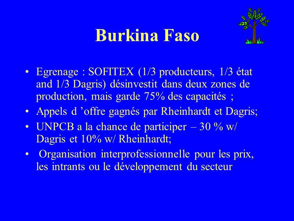 Burkina Faso Egrenage : SOFITEX (1/3 producteurs, 1/3 état and 1/3 Dagris) désinvestit dans deux zones de production, mais garde 75% des capacités ; A