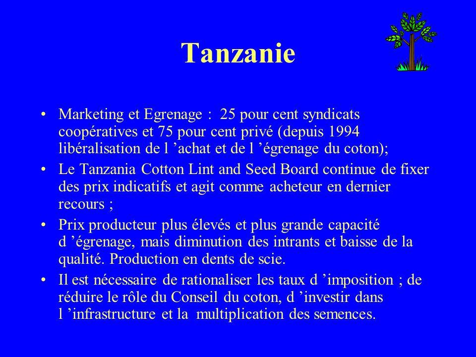 Tanzanie Marketing et Egrenage : 25 pour cent syndicats coopératives et 75 pour cent privé (depuis 1994 libéralisation de l achat et de l égrenage du