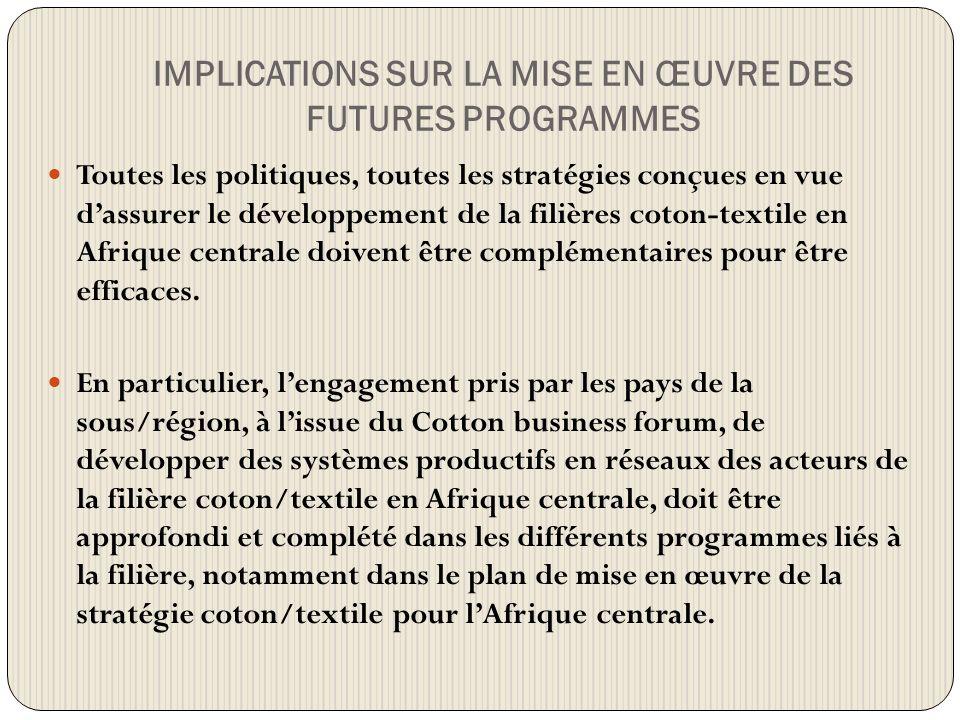 IMPLICATIONS SUR LA MISE EN ŒUVRE DES FUTURES PROGRAMMES Toutes les politiques, toutes les stratégies conçues en vue dassurer le développement de la filières coton-textile en Afrique centrale doivent être complémentaires pour être efficaces.