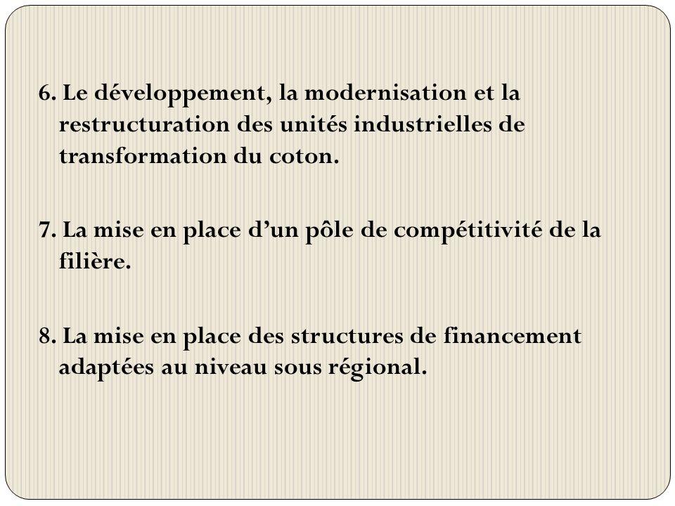 6. Le développement, la modernisation et la restructuration des unités industrielles de transformation du coton. 7. La mise en place dun pôle de compé