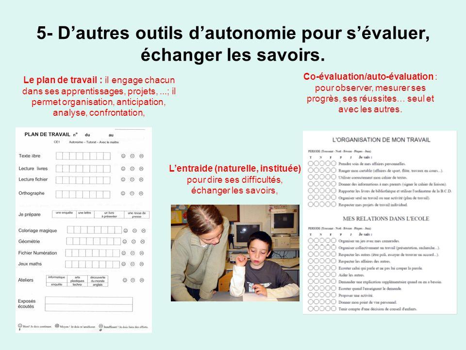 5- Dautres outils dautonomie pour sévaluer, échanger les savoirs. Le plan de travail : il engage chacun dans ses apprentissages, projets,...; il perme