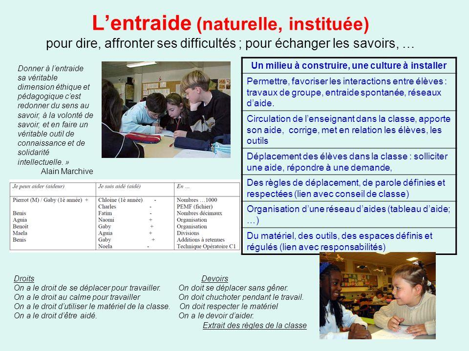 Lentraide (naturelle, instituée) pour dire, affronter ses difficultés ; pour échanger les savoirs, … Un milieu à construire, une culture à installer P