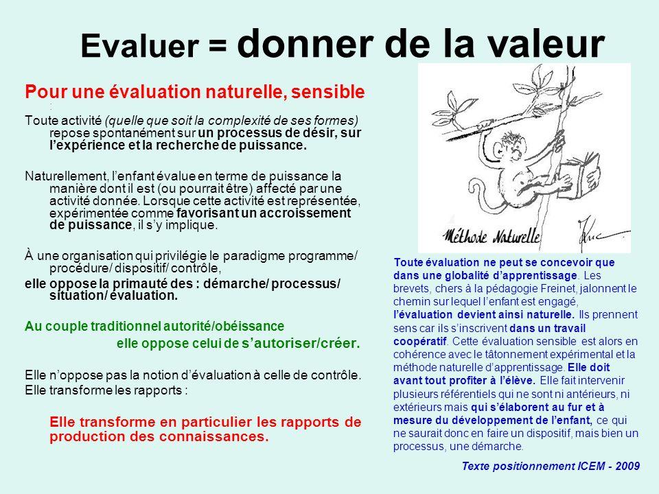 Evaluer = donner de la valeur Pour une évaluation naturelle, sensible : Toute activité (quelle que soit la complexité de ses formes) repose spontanéme