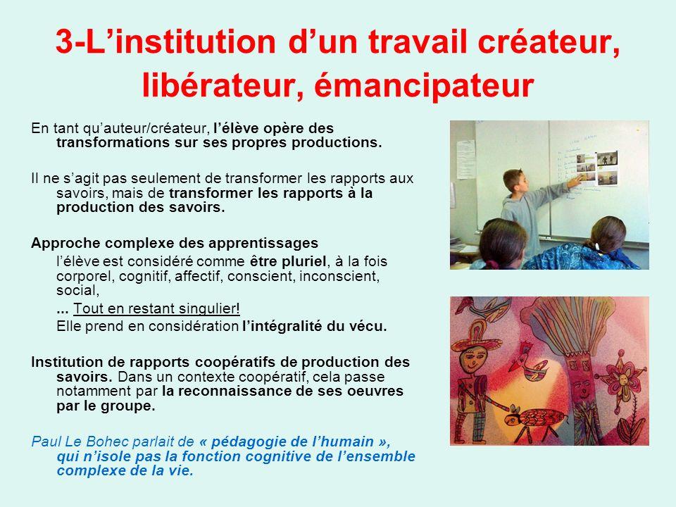 3-Linstitution dun travail créateur, libérateur, émancipateur En tant quauteur/créateur, lélève opère des transformations sur ses propres productions.