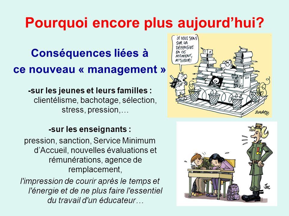 Conséquences liées à ce nouveau « management » -sur les jeunes et leurs familles : clientélisme, bachotage, sélection, stress, pression,… -sur les ens