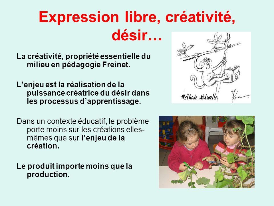Expression libre, créativité, désir… La créativité, propriété essentielle du milieu en pédagogie Freinet. Lenjeu est la réalisation de la puissance cr