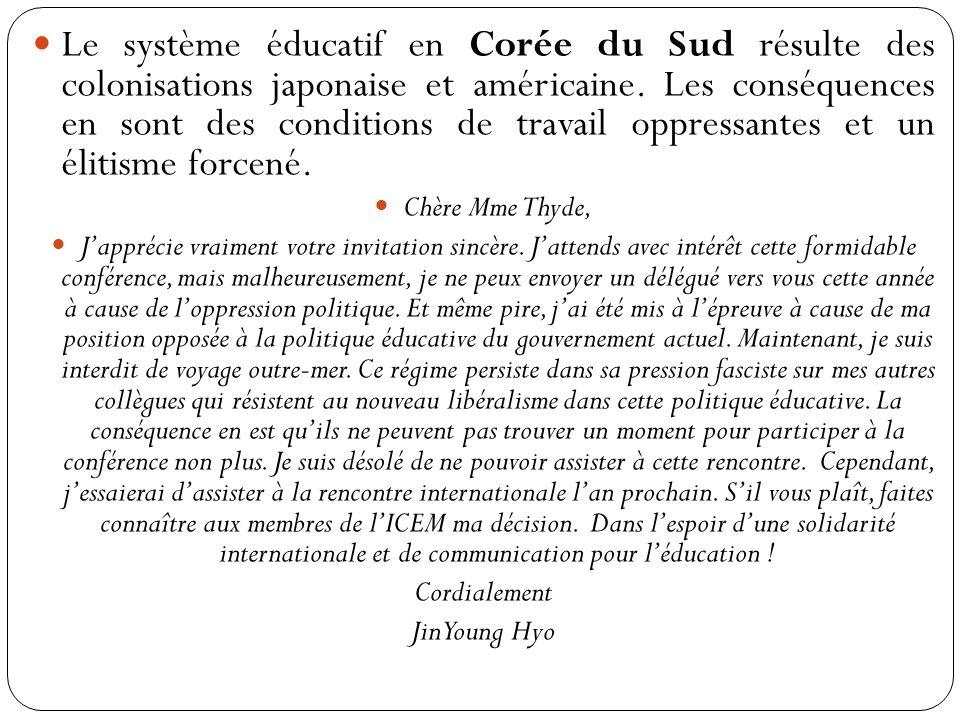 Le système éducatif en Corée du Sud résulte des colonisations japonaise et américaine.