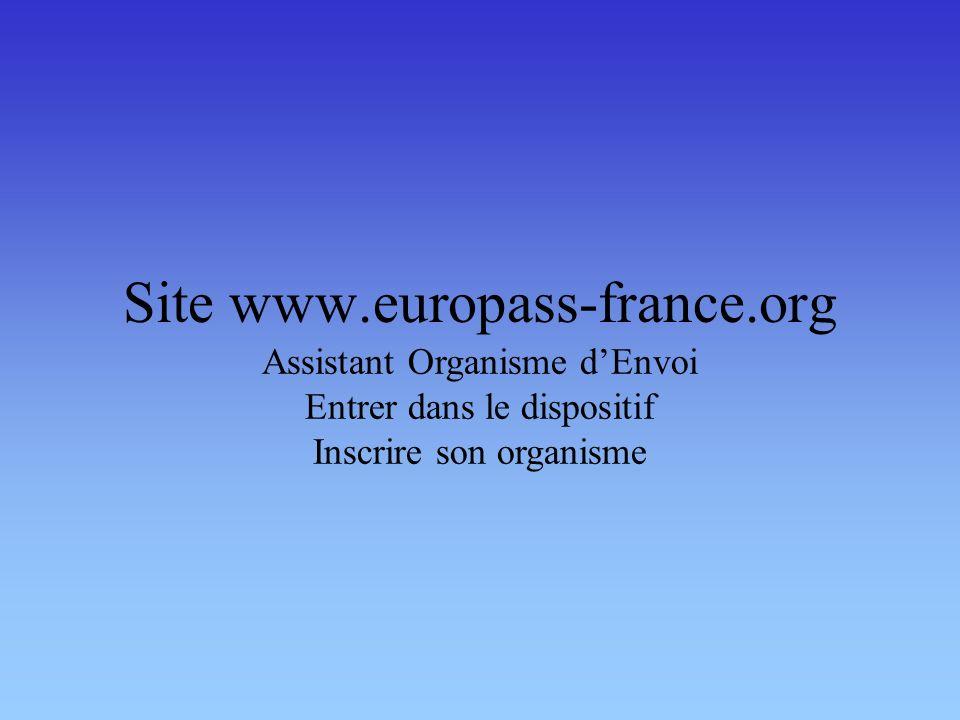 Site www.europass-france.org Assistant Organisme dEnvoi Entrer dans le dispositif Inscrire son organisme