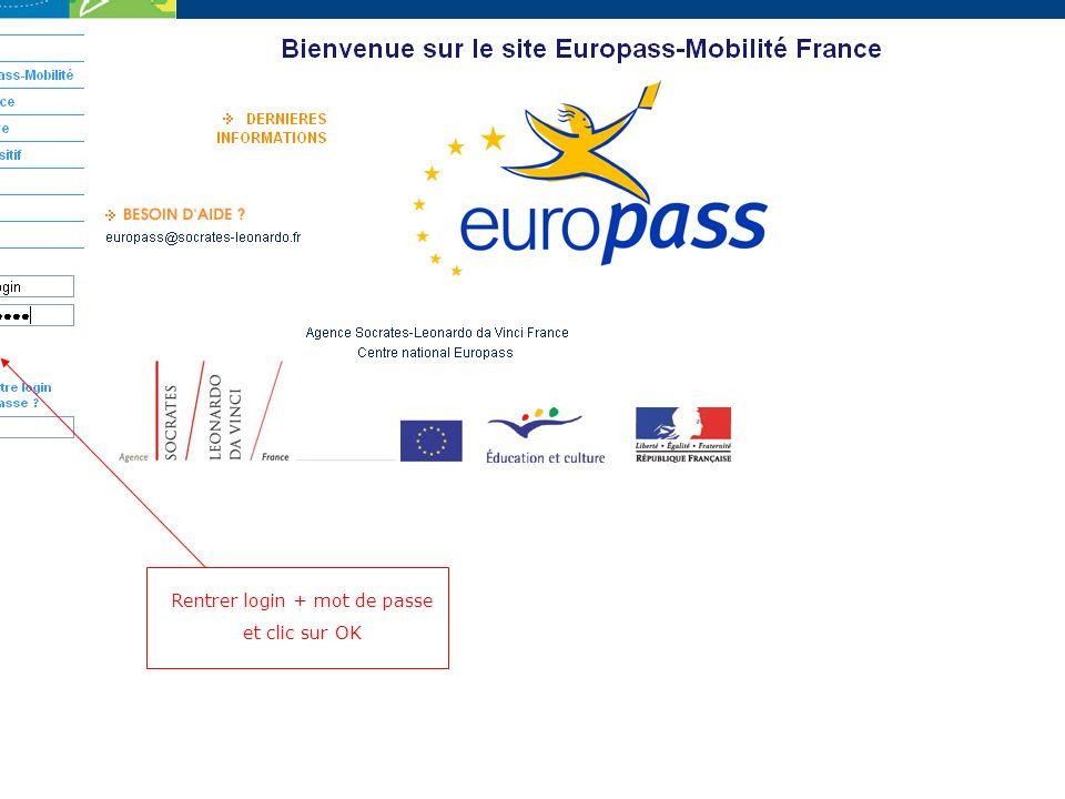 Clic sur « Mes Europass-Mobilité »