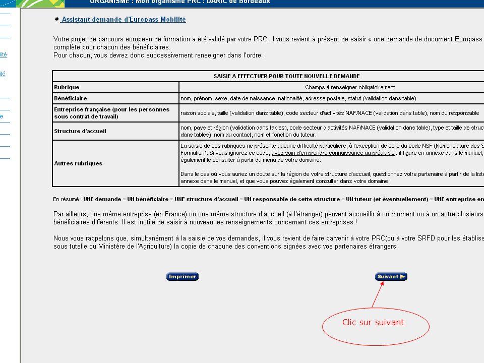 Déroulement des opérations LEGENDE : En bleu : Accord effectué par le Point Régional de Contact (PRC) En vert : Action générée automatiquement par le système Assistant de saisie « Organisme » Assistant de saisie « Projet de Parcours » Assistant de saisie DEM « Demande d Europass-Mobilité » Accord sur le Projet par le PRC Consultation et accord du PRC (DEM) Envoi de mail de confirmation à l OE Parcours Europass-Mobilité numéroté et prérenseigné.
