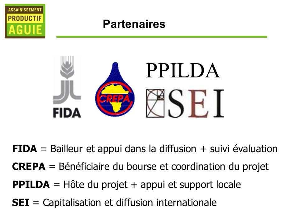 PPILDA FIDA = Bailleur et appui dans la diffusion + suivi évaluation CREPA = Bénéficiaire du bourse et coordination du projet PPILDA = Hôte du projet + appui et support locale SEI = Capitalisation et diffusion internationale Partenaires