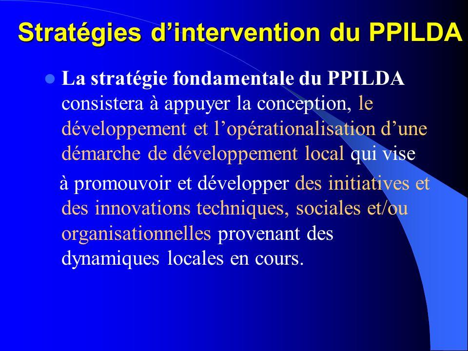 Composantes du PPILDA Le PPILDA est formulé sur cinq (5) composantes: Repérage et Valorisation des Innovations Locales Renforcement des Instances et O