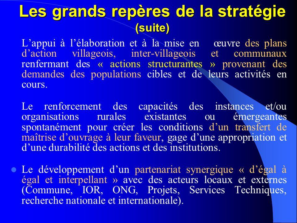 Les grands repères de la stratégie Le développement local articulé avec la dynamique de la décentralisation : Plans daction des IOR permettant dexerce