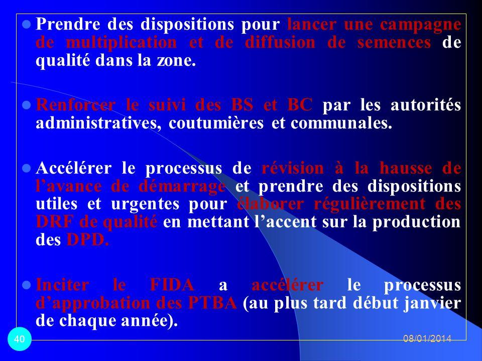 IV. Principales recommandations 08/01/2014 39