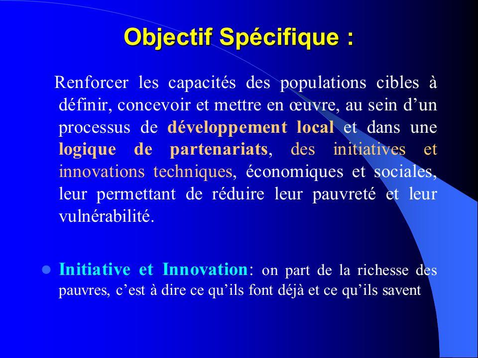 Objectif Général : Améliorer les conditions de vie et les revenus des populations pauvres du département dAguié et des communes limitrophes de Guidan
