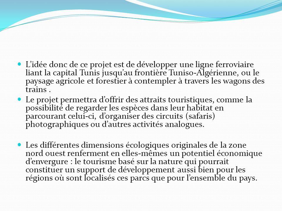 Lidée donc de ce projet est de développer une ligne ferroviaire liant la capital Tunis jusquau frontière Tuniso-Algérienne, ou le paysage agricole et