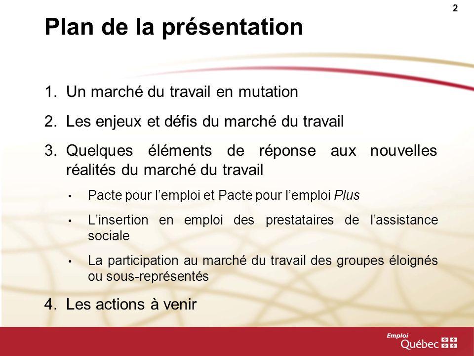 2 Plan de la présentation 1.Un marché du travail en mutation 2.Les enjeux et défis du marché du travail 3.Quelques éléments de réponse aux nouvelles r