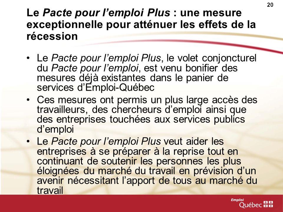 20 Le Pacte pour lemploi Plus : une mesure exceptionnelle pour atténuer les effets de la récession Le Pacte pour lemploi Plus, le volet conjoncturel d