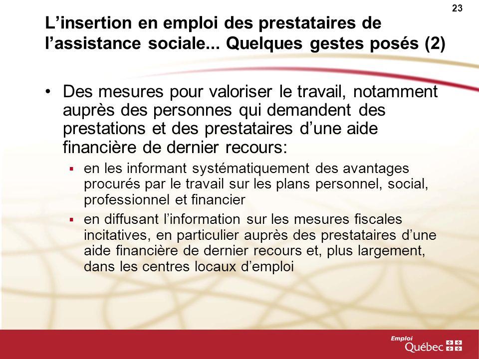 23 Linsertion en emploi des prestataires de lassistance sociale... Quelques gestes posés (2) Des mesures pour valoriser le travail, notamment auprès d