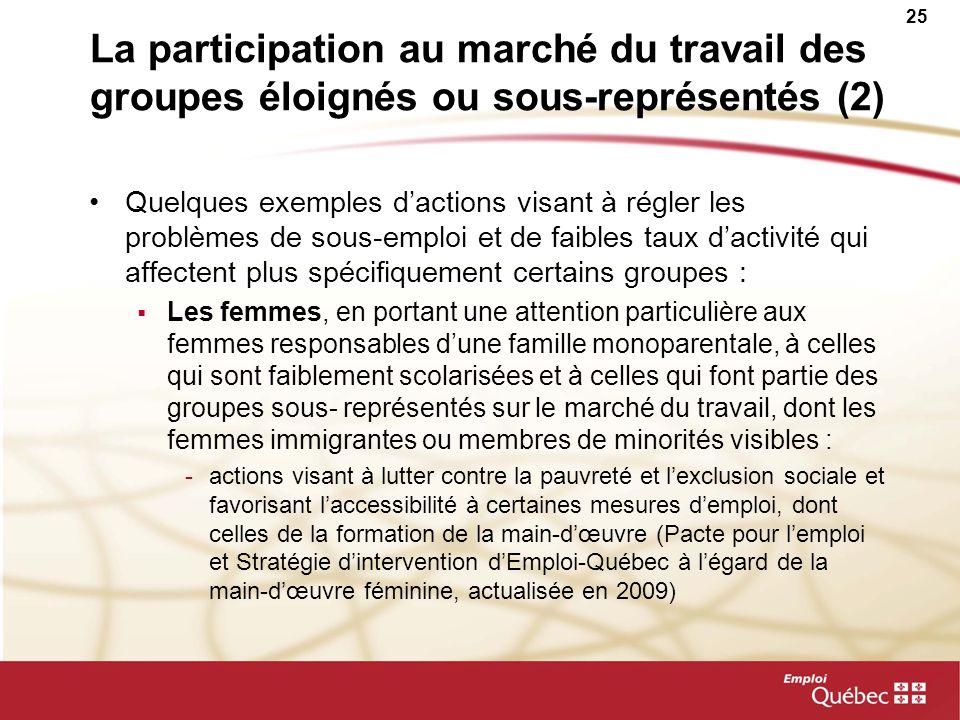 25 La participation au marché du travail des groupes éloignés ou sous-représentés (2) Quelques exemples dactions visant à régler les problèmes de sous