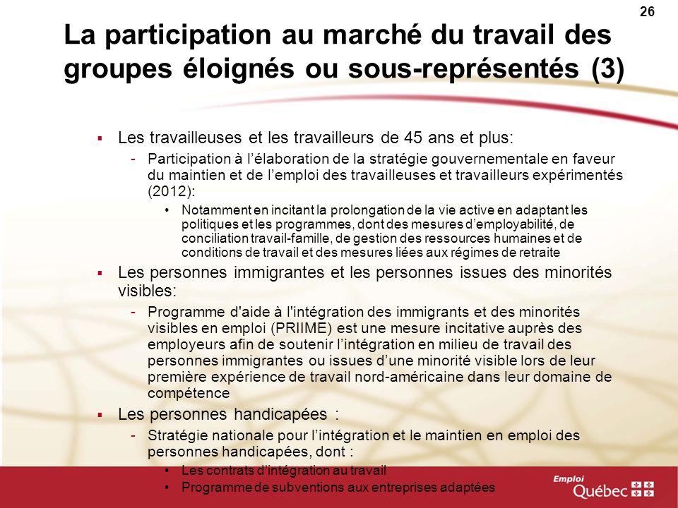 26 La participation au marché du travail des groupes éloignés ou sous-représentés (3) Les travailleuses et les travailleurs de 45 ans et plus: -Partic