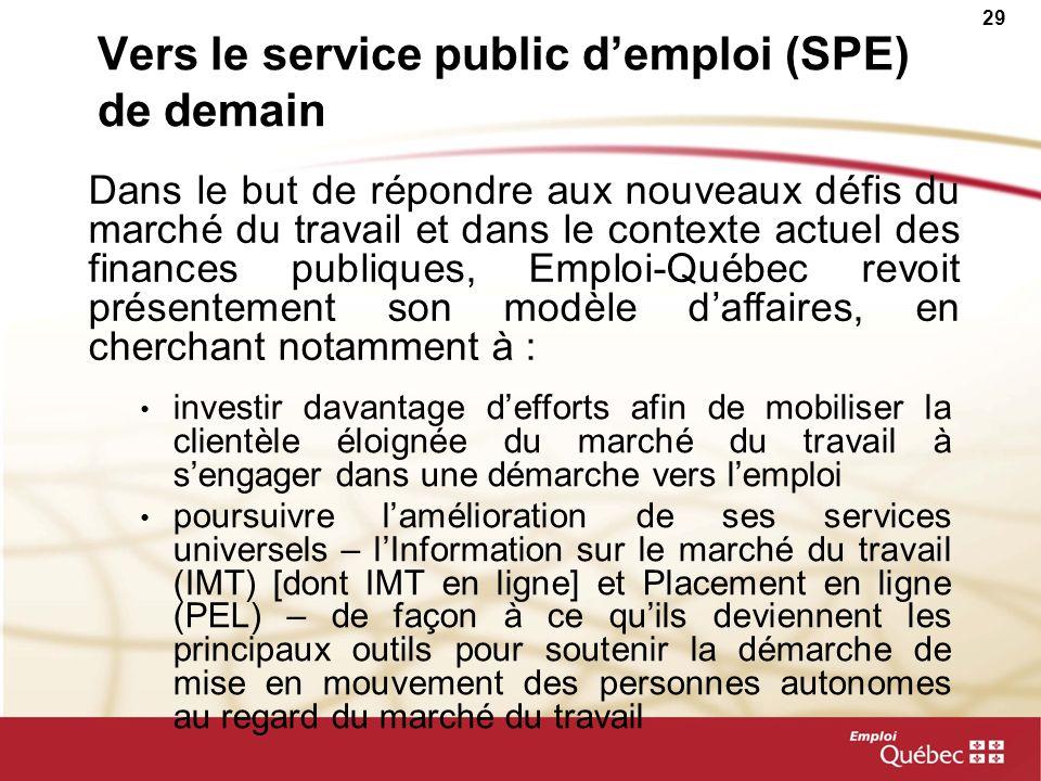 29 Vers le service public demploi (SPE) de demain investir davantage defforts afin de mobiliser la clientèle éloignée du marché du travail à sengager