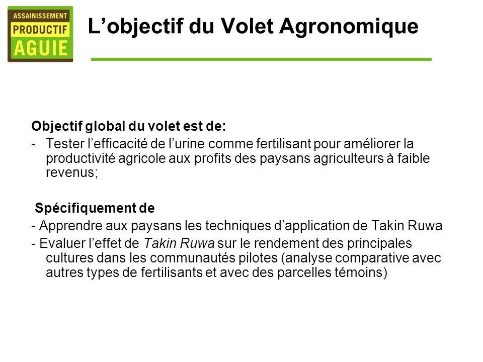 Lobjectif du Volet Agronomique Objectif global du volet est de: -Tester lefficacité de lurine comme fertilisant pour améliorer la productivité agricol