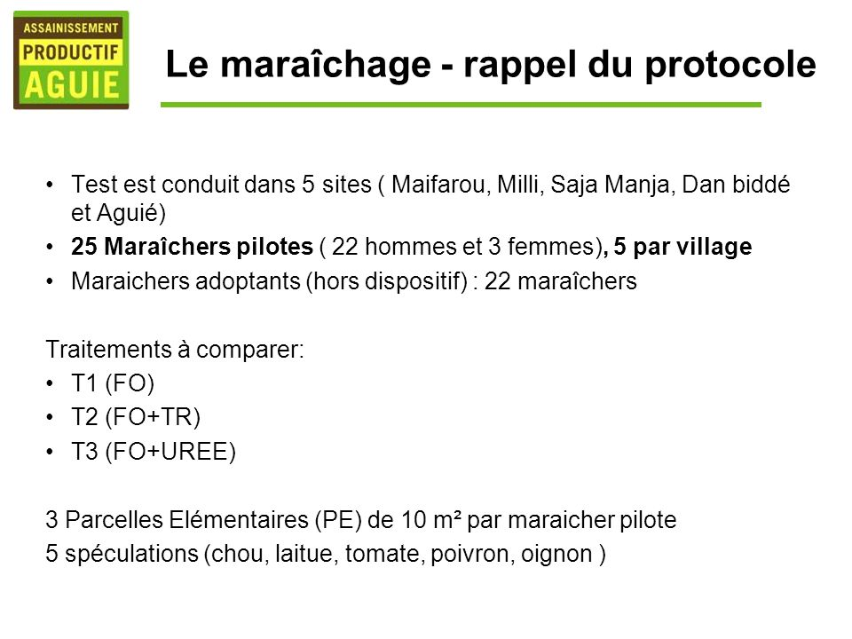 Le maraîchage - rappel du protocole Test est conduit dans 5 sites ( Maifarou, Milli, Saja Manja, Dan biddé et Aguié) 25 Maraîchers pilotes ( 22 hommes