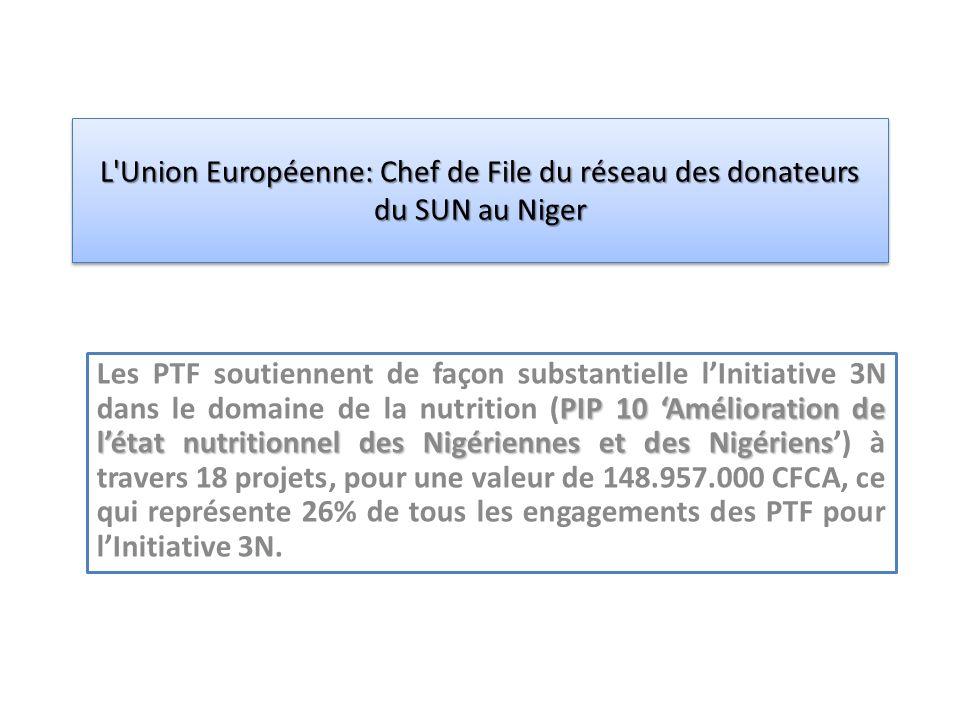 PIP 10 Amélioration de létat nutritionnel des Nigériennes et des Nigériens Les PTF soutiennent de façon substantielle lInitiative 3N dans le domaine de la nutrition (PIP 10 Amélioration de létat nutritionnel des Nigériennes et des Nigériens) à travers 18 projets, pour une valeur de 148.957.000 CFCA, ce qui représente 26% de tous les engagements des PTF pour lInitiative 3N.